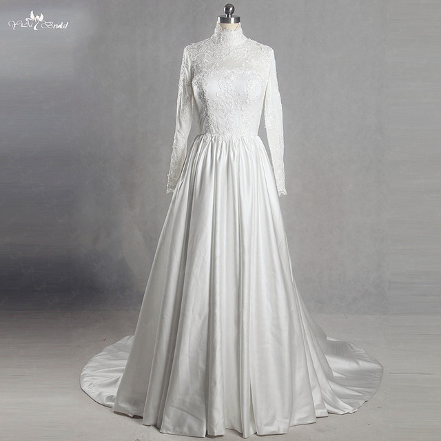 b39aa6287a4 RSW1393 Yiaibridal Real Job Buttons Back Long Sleeve High Neck Muslim Wedding  Dress
