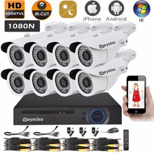 Mother's Day Eyedea 8 CH 1080N Phone View DVR 3500TVL CMOS Night Vision Outdoor White Waterproof CCTV Security 8 Cameras System