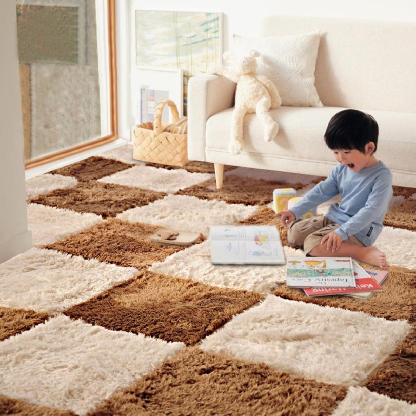 1PCS Long Hair Carpet Living Room Door Mat Puzzle Mat Baby Crawling Cutting Area Rug Kids Play Carpet Tatami Mosaic Floor