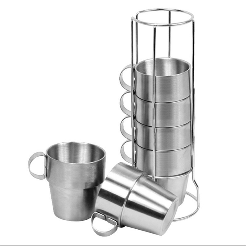 1 Set of 6 Stainless Steel Cover Mug Camping Cup Mug Drinking Coffee Tea Beer With Case Ideal for Camping Holiday Picnic