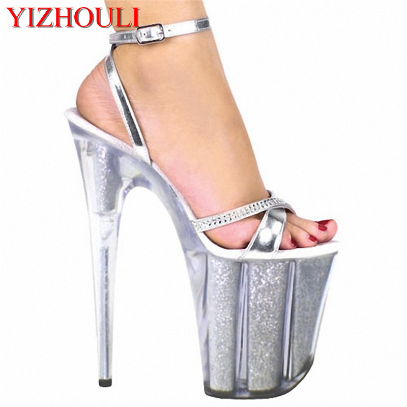 Gorgeous 20cm silver lace up high heel sandals 8 icnh platform vintage sexy performance clear Women