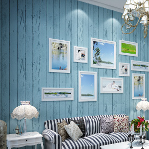 Self-Adhesive stripe wood wallpaper paste wallpaper blue Mediterranean thick non-woven bedroom living room wallpaper