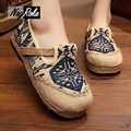 Plus size11 Fashion totem linen shoes women retro chinese canvas platform shoes ladies flats boat mary jane shoes women loafers