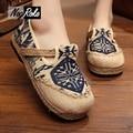 Plus size11 Fashion totem linen shoes women retro chinese canvas platform shoes ladies flats boat mary jane shoes women loafers