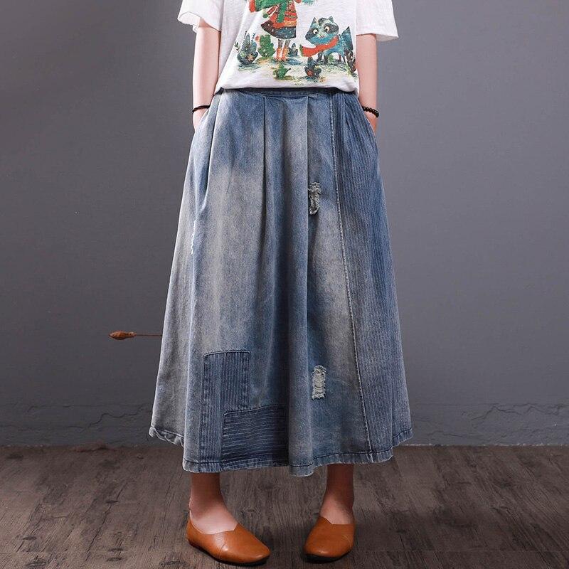 Plus Size A-line Denim Long Skirts  Women Oversized Vintage Female Art Loose Ankle Length Long Jeans Skirt
