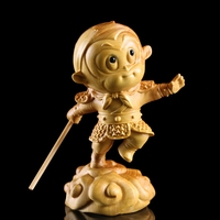 Chinese legend Monkey King wood Statues & Sculptures Sun wukong Chinese dolls gift carved decor wall Figurines Garden miniatures