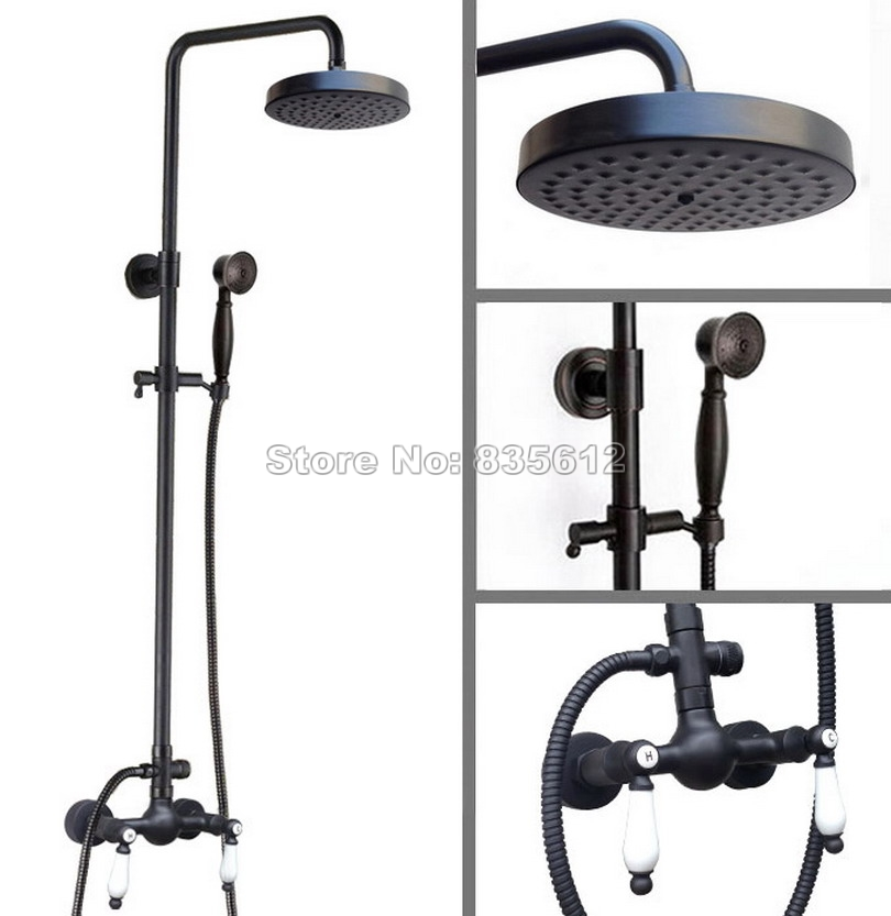 Wall Mounted Bathroom Black Oil Rubbed Bronze Round Shower Head & Rain Shower Faucet Set with Hand Spray Mixer Tap Wrs476Wall Mounted Bathroom Black Oil Rubbed Bronze Round Shower Head & Rain Shower Faucet Set with Hand Spray Mixer Tap Wrs476