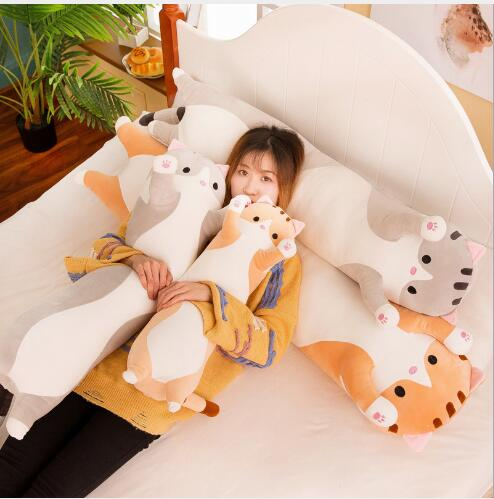WYZHY New cat long strip pillow bed adult lazy yellow cat long pillow plush pillow pillow double child cushion 130CM in Stuffed Plush Animals from Toys Hobbies