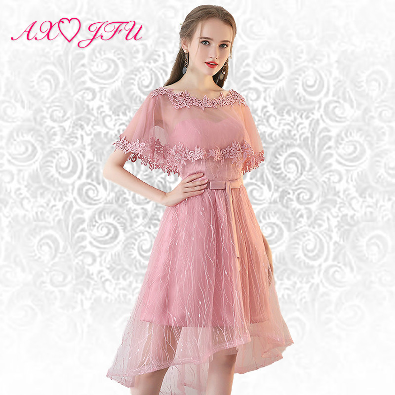 AXJFU pink lace flower   Evening     dress   flower fluffy short princess bow   evening     dress   small hostess flower   evening     dress