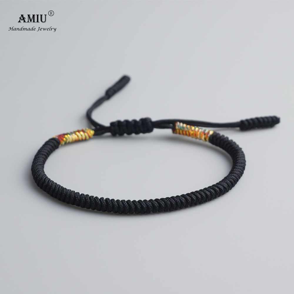 AMIU tybetański Handmade buddyjski szczęśliwe bransoletki i Bangles dla kobiet mężczyzn czarna lina węzłów prezent amulet tybetański pleciona bransoletka