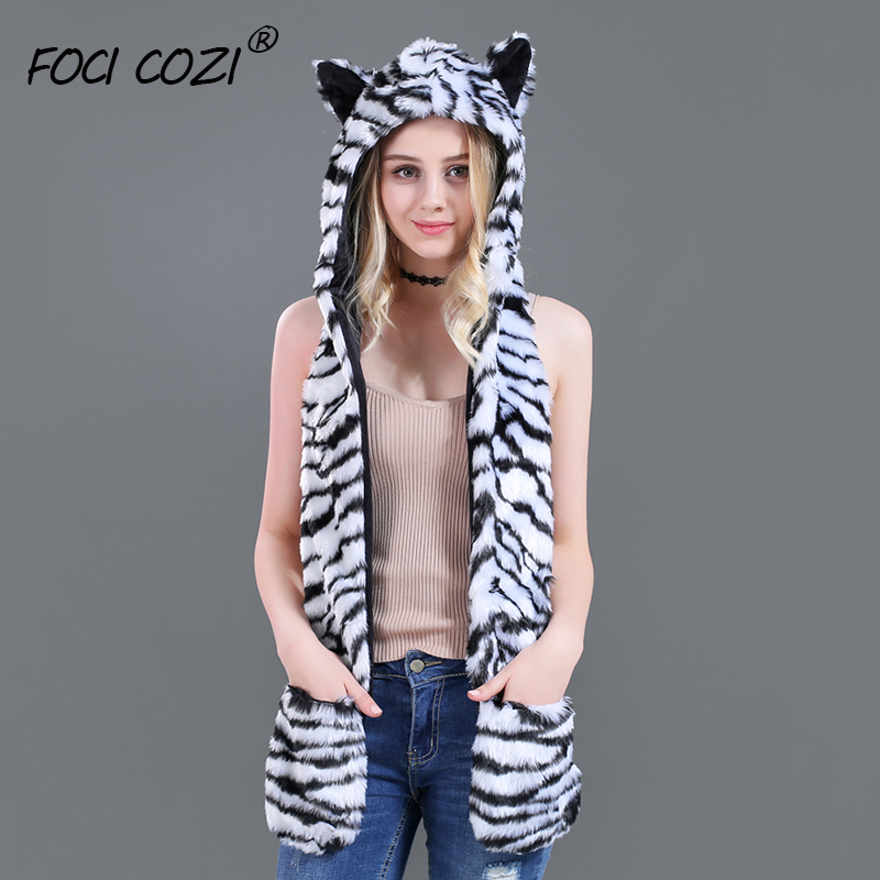 2019 New White Tiger Animal Hood Hat Cap Scarf Gloves Mittens Faux Fur Fleece Lined Interior Anime Spirit Paws Ears Furry Hoodie