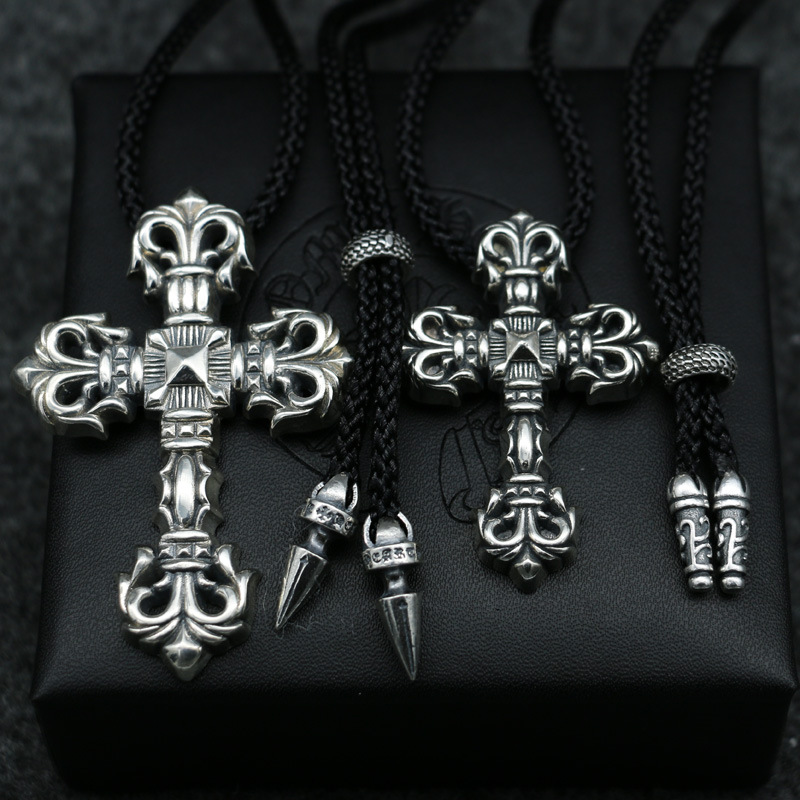 Japan And South Korea Trend Silver Cool Sterling Silver Cross Pendant Necklace Male Simple Black Rope Pendant europe america japan south korea thai silver personality wild and simple men s and women s bracelet wholesale