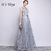 Es der YiiYa Zipper Brautjungfer Kleid Stickerei Illusion Oansatz Ärmelloses Grau kleider Bodenlangen A linie Lange Party Kleid E122