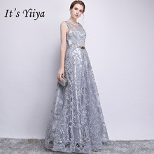Its YiiYa Zipper Bridesmaid Dress Embroidery Illusion O neck Sleeveless Gray dresses Floor Length A line Long Party Gown E122