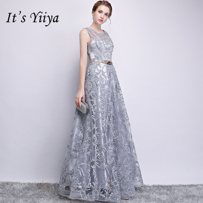 It's YiiYa Zipper   Bridesmaid     Dress   Embroidery Illusion O-neck Sleeveless Gray   dresses   Floor Length A-line Long Party Gown E122