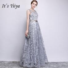فستان وصيفة العروس من Its YiiYa ذو سحّاب مطرز برقبة دائرية بدون أكمام رمادي طول الأرض على شكل حرف a طويل للحفلات E122