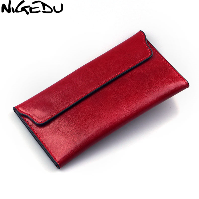 NIGEDU Brand Genuine Leather Women Wallet Long Thin Purse Cowhide Multiple Cards Holder Clutch Bag Fashion Standard Wallet