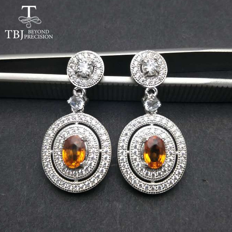 TBJ,classic earring design,natural orange color sapphire earring in 925 sterling silver gemstone jewelry for women with gift box tbj 2017 clasp earring with natural brazil aquamarine in 925 sterling silver jewelry natural gemstone earring classic design