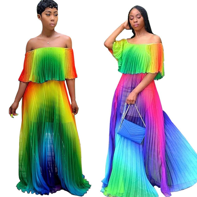 Colorful Rainbow Pleated Long Dress Women Vacation Sexy Off Shoulder Boho Chiffon Maxi Dress Summer Bohemian Beach Holiday Dress