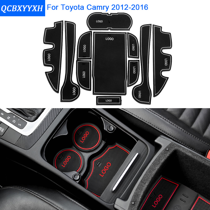 11Pcs/Set For TOYOTA Camry 2012-2016 Car Styling Slot Pad Interior Door Groove Mat Latex Anti-Slip Cushion Internal Dedicated for mazda cx 5 cx 5 cx5 2017 2018 gate slot pad non slip cup mats anti slip door groove mat interior car styling accessories lhd
