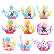 9 PCS/SET Anime Dragon Ball Z Frieza Vegeta Goku Broly Trunks PVC Action Figure Doll Model Toy Christmas Gift For Children