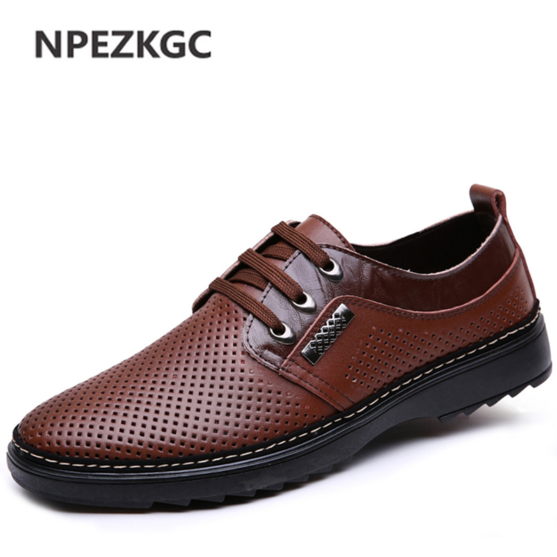 NPEZKGC Men's Flats Shoes Spring Fashion New Breathable Men's Lace-up Casual Shoes Genuine Leather Shoes Men Driving Shoes npezkgc brand best quality genuine leather men flats casual shoes soft loafers comfortable driving shoes men breathable shoes