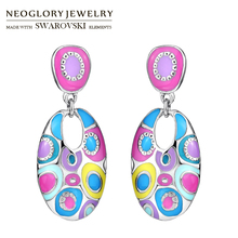 Neoglory Enamel Colorful Ethnic Bohemian Long Oval Drop Earrings For Women Fashion India Style Jewelry Vintage Gift
