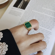 LouLeur 925 sterling silver Malachite square rings gold classic design elegant chic open rings for women festival jewelry gift louleur 925 sterling silver letter breeze open rings silver square glossy simple element design trendy rings for women jewelry