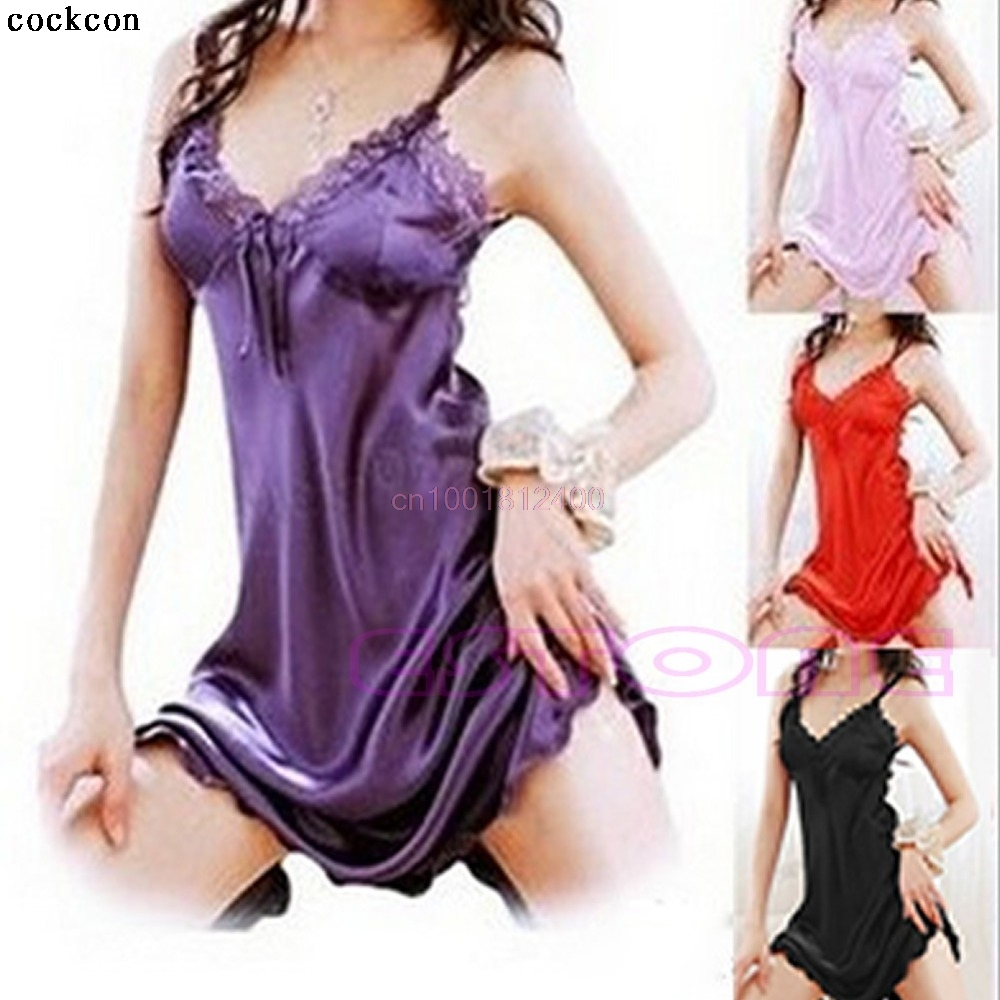 0a574a8e4ef 1pc Women Dress Sexy Sleepwear Nightgown Satin Silk Babydoll Lace Robes  Sleep Dress Skirt