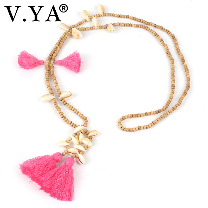 V.YA Cute Shell Tassel Necklaces for Ladies Female Boho Jewelry Women Seed Beads Necklace Handmade Long Chain