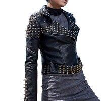 2017 Autumn Casaco Feminino Silver Leather Jacket Women Spikes Stars Slim Rivets Motorcycle Stand Collar Perfecto Biker Coat