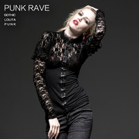 PUNK RAVE Gothic Black Lace Hollow Out Full Sleeve Knitted T Shirt