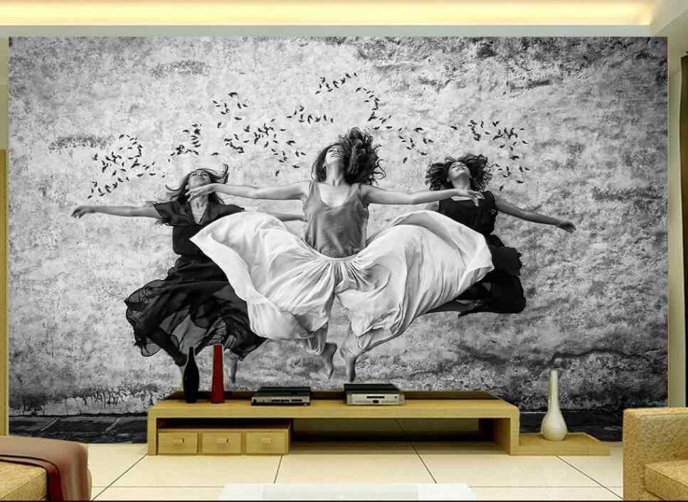 Customized large mural wallpaper European aesthetic black and white ba dancers dance classroom living room background.jpg q50