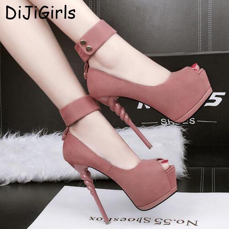 platform pumps sexy high heels Pumps Women dress party Shoes peep Toe Platform Pumps Shoes pink