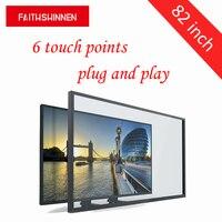 82 дюймов multi touch screen комплект 6 точек касания usb внешний сенсорный frame наложения сенсорный экран для tv с низкая цена