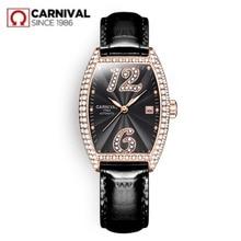 2019Carnival switzerland automatic mechanical watch women luxury brand leather strap watches rhinestione clock reloj saati