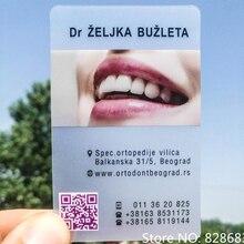 Impresión de tarjetas de visita de pvc, finas, 85,5x54mm, CMYK en una cara de tarjetas, caras mate, impresión en tinta blanca