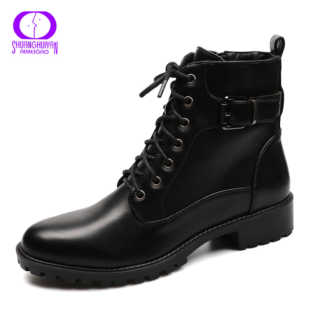 European Style Black Ankle Boots Flats Round Toe Black Zip Martin Boots PU Leather Woman Shoes With Warm Plush 1
