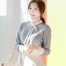 GUGULANG Patchwork Stand Collar Bow Tie Long Sleeve Chiffon Shirt Female Blouse Women Shirt Sky Blue S/M/L/XL/XXL