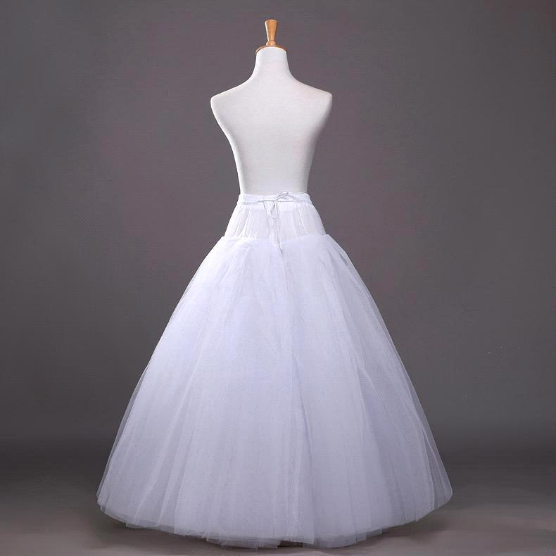 Купить с кэшбэком Cheap White A-line Wedding Accessories Ball gown 4 layers tulle hoopless Petticoat Crinoline Skirt Waist adjustable jupon