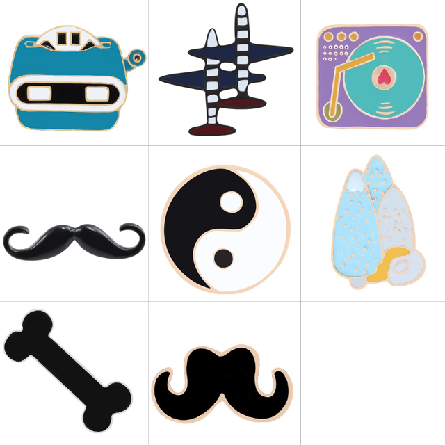 8 Style Moustaches Pin Badge Aircraft Pins Metal Bone Brooch Tree Men's Clothing Accessories Gifts For Women Brooches Jewelry