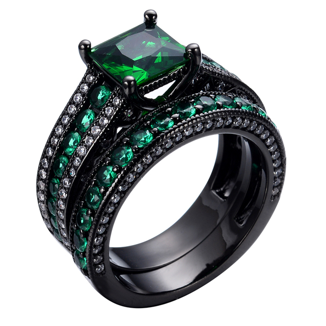 size 678910 green stone jewelry engagement rings anel - Black Gold Wedding Ring Sets