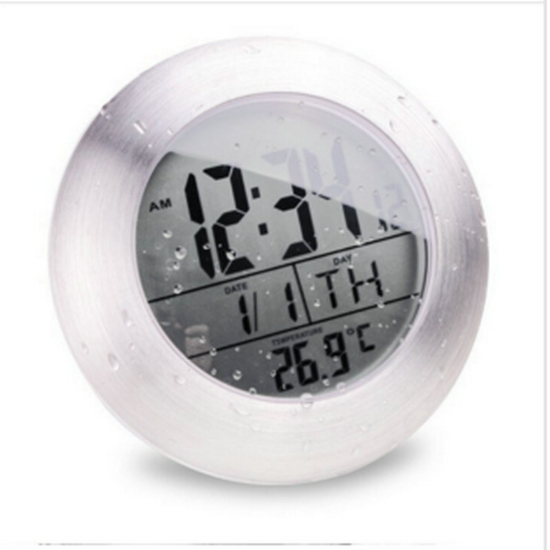 imágenes para A prueba de agua de Ducha Baño Cocina Ventosa Reloj Silencioso Relojes Digitales Reloj de La Moda Moderna Temperatura y Fecha de Diseño