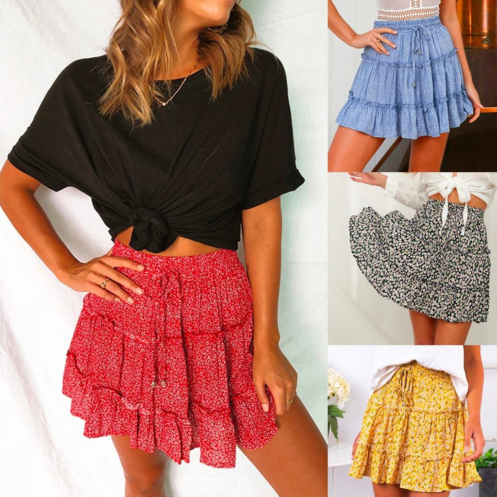 New 2020 Summer High Waisted Female Short Skirt  Women Casual Bohe Ruffled Floral Print Beach Bohemian Mini Skirts 3.26