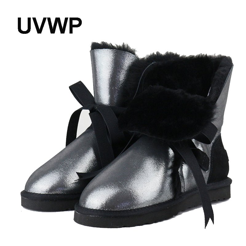 UVWP New Fashion Snow Boots for Women Genuine Sheepskin Leather Women Boots 100% Natural Fur Winter Boots Woman Warm Wool boots new fashion brand women snow boot genuine sheepskin leather snow camouflage boots natural fur winter boots warm wool women boots
