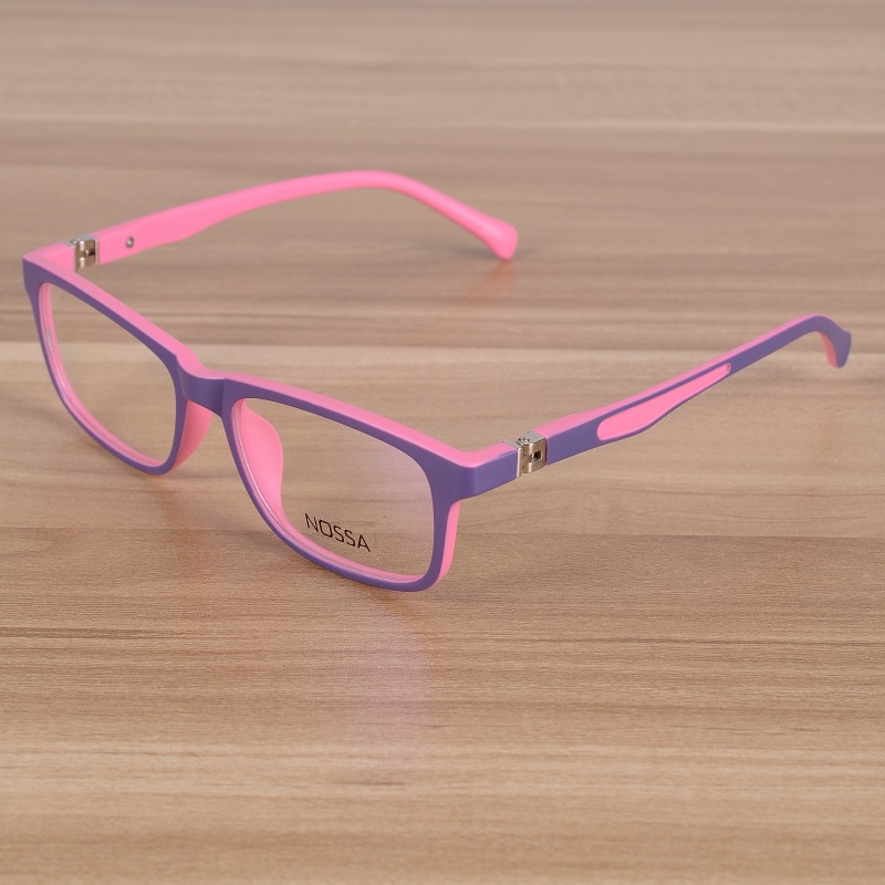 Kids Eyeglasses Children Flexible TR90 Plain Glasses Frame Optical Prescription Eyewear Frames Girls Boys Pink Patchwork Glasses