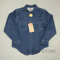 Bob Dong 1930s Selvedge Work Shirt Vintage Men's Pocket Jean Denim Casual Shirts