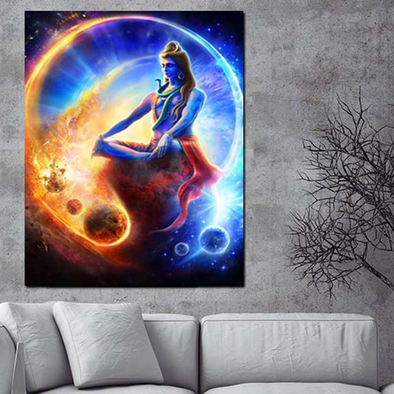 Print Wall Indian Art Buddha Meditation Psychedelic Poster Shiva Painting on Canvas Modern Cuadros Decor Picture For Living Room