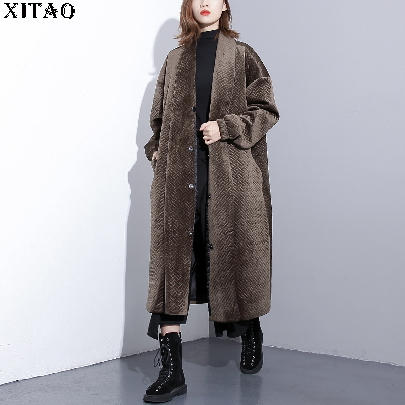[XITAO] Korea Fashion New Women 2018 Autumn Single Breasted Full Sleeve   Parka   Female Casual Cottom Solid Color   Parka   ZLL1814