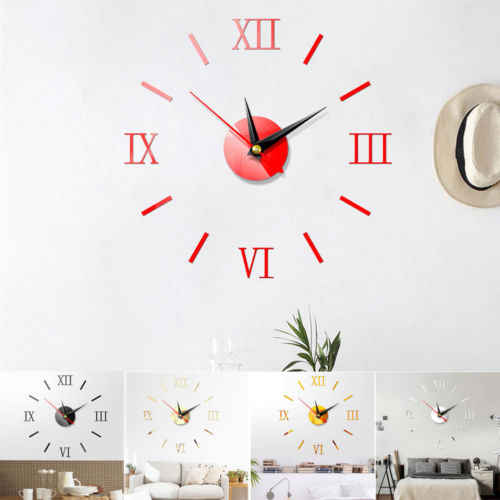 Nowoczesne DIY duża ściana zestaw do zegara 3D naklejane lustra na powierzchnie domu pomieszczenie biurowe wystrój